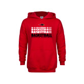 Youth Red Fleece Hoodie-Basketball Triple Stacked