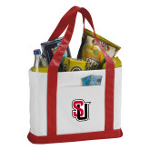 Contender White/Red Canvas Tote-Tertiary Mark