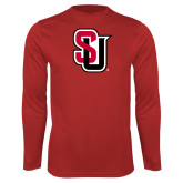 Performance Red Longsleeve Shirt-Tertiary Mark
