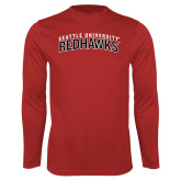 Performance Red Longsleeve Shirt-SU RedHawks Arched