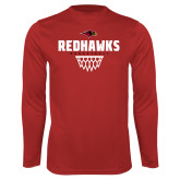 Performance Red Longsleeve Shirt-Basketball Net Design
