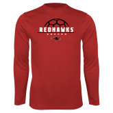 Performance Red Longsleeve Shirt-Soccer Ball Design