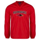 V Neck Red Raglan Windshirt-RedHawks Arched