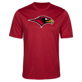 Performance Red Heather Contender Tee-RedHawk Head