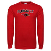 Red Long Sleeve T Shirt-RedHawks Arched