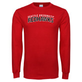 Red Long Sleeve T Shirt-SU RedHawks Arched