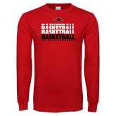 Red Long Sleeve T Shirt-Basketball Triple Stacked