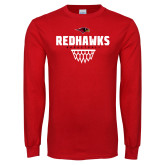 Red Long Sleeve T Shirt-Basketball Net Design