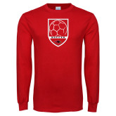 Red Long Sleeve T Shirt-Soccer Shield Design