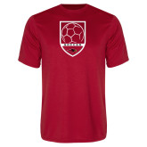 Performance Red Tee-Soccer Shield Design