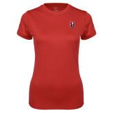 Ladies Syntrel Performance Red Tee-Tertiary Mark