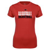 Ladies Syntrel Performance Red Tee-Basketball Triple Stacked