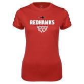 Ladies Syntrel Performance Red Tee-Basketball Net Design