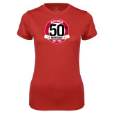 Ladies Syntrel Performance Red Tee-Soccer 50th Anniversary