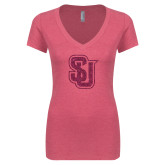 Next Level Ladies Vintage Pink Tri Blend V-Neck Tee-SU Interlocking Glitter