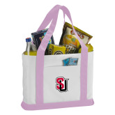 Contender White/Pink Canvas Tote-Tertiary Mark