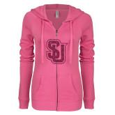 ENZA Ladies Hot Pink Light Weight Fleece Full Zip Hoodie-SU Interlocking Glitter