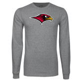 Grey Long Sleeve T Shirt-RedHawk Head
