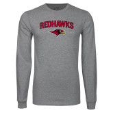 Grey Long Sleeve T Shirt-RedHawks Arched