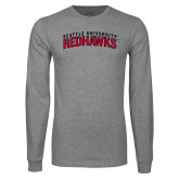 Grey Long Sleeve T Shirt-SU RedHawks Arched