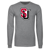 Grey Long Sleeve T Shirt-Tertiary Mark Distressed
