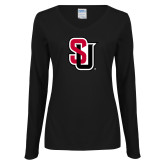 Ladies Black Long Sleeve V Neck Tee-Tertiary Mark