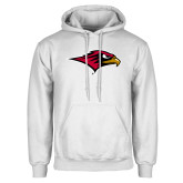 White Fleece Hoodie-RedHawk Head