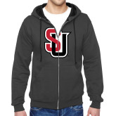 Charcoal Fleece Full Zip Hoodie-Tertiary Mark