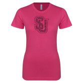 Next Level Ladies SoftStyle Junior Fitted Fuchsia Tee-SU Interlocking Glitter