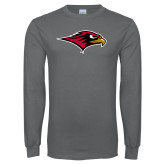 Charcoal Long Sleeve T Shirt-RedHawk Head