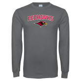 Charcoal Long Sleeve T Shirt-RedHawks Arched