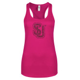 Next Level Ladies Raspberry Ideal Racerback Tank-SU Interlocking Glitter