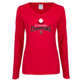 Ladies Red Long Sleeve V Neck Tee-2018 WAC Champions
