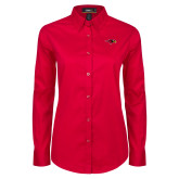 Ladies Red Twill Button Down Long Sleeve-RedHawk Head