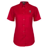 Ladies Red Twill Button Up Short Sleeve-Tertiary Mark