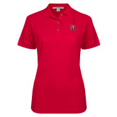Ladies Easycare Red Pique Polo-Tertiary Mark