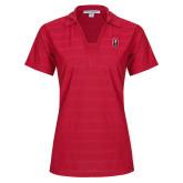 Ladies Red Horizontal Textured Polo-Tertiary Mark