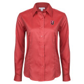 Ladies Red House Red Long Sleeve Shirt-Tertiary Mark