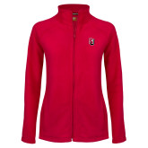 Ladies Fleece Full Zip Red Jacket-Tertiary Mark