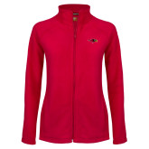 Ladies Fleece Full Zip Red Jacket-RedHawk Head