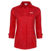 Ladies Red House Red 3/4 Sleeve Shirt-Primary Mark
