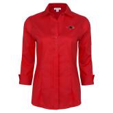 Ladies Red House Red 3/4 Sleeve Shirt-RedHawk Head
