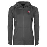 Ladies Sport Wick Stretch Full Zip Charcoal Jacket-Tertiary Mark
