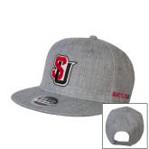 Heather Grey Wool Blend Flat Bill Snapback Hat-Tertiary Mark