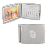 Silver Bifold Frame w/Calendar-Tertiary Mark Engraved