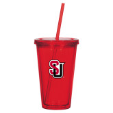 Madison Double Wall Red Tumbler w/Straw 16oz-Tertiary Mark
