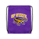Nylon Purple Drawstring Backpack-Primary Mark