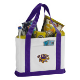 Contender White/Purple Canvas Tote-Primary Mark