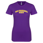 Next Level Ladies SoftStyle Junior Fitted Purple Tee-San Francisco State
