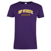 Ladies Purple T Shirt-Soccer